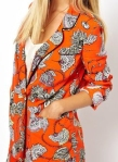 Orange Double Breasted Blazer In Bold Floral Print from Lyst
