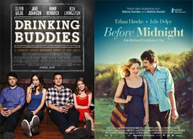 drinking buddies and before midnight film posters