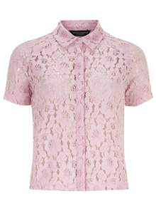 pink lace short sleeve shirt from dorothy perkins