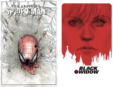 spider man and black widow covers