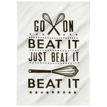beat it tea towel from Tesco