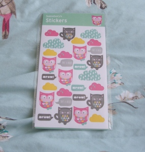 owl and cat stickers from sainsbury's