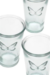 set of 6 recycled butterfly tumblers from next