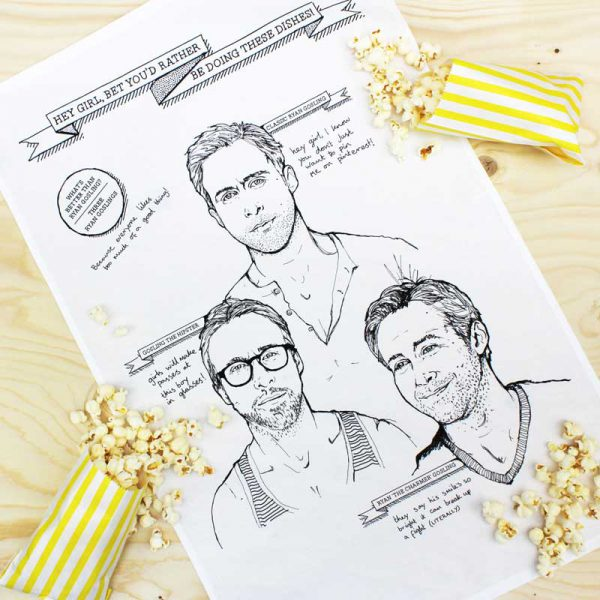 ryan gosling tea towel from prezzybox