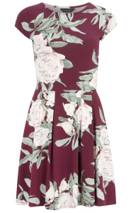 Wine Red floral sweetheart dress from Dorothy Perkins