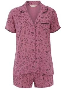 Raspberry woodland print short PJ set from Dorothy Perkins