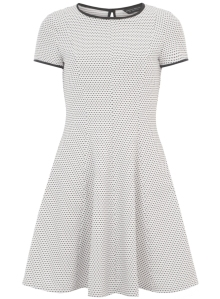 Ivory Spot Fit and Flare Dress from Dorothy Perkins