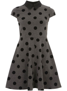 Grey Flocked Spot Dress from Dorothy Perkins