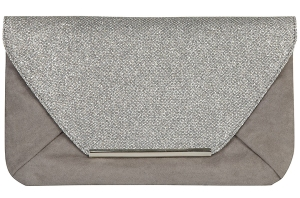 Grey glitter bar clutch bag from Dorothy Perkins