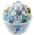 baby boy nappy cake arrangement from tesco