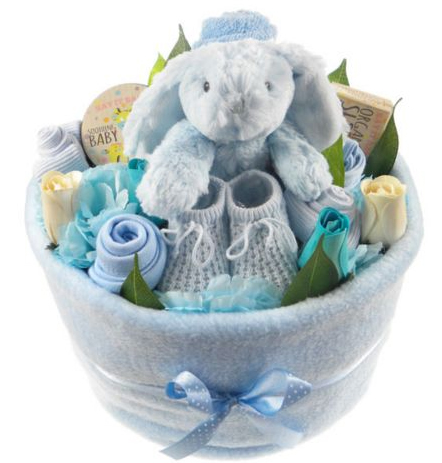 baby boy nappy cake arrangement from tesco
