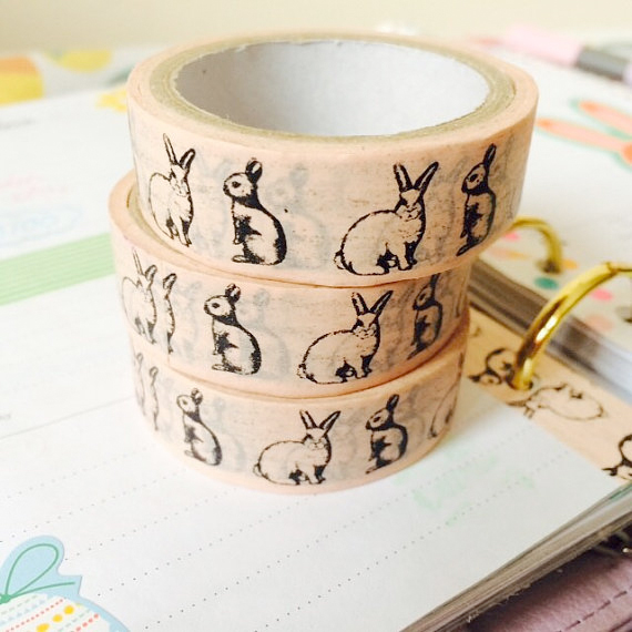 bunny washi tape from hey charlie on etsy