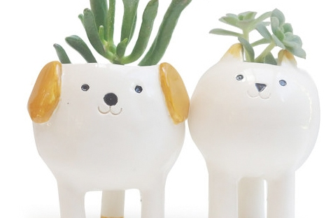minky moo ceramics cat and dog planters from etsy