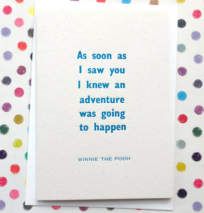 winnie the pooh quote letterpress card from etsy