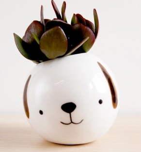 ceramic dog planter from etsy
