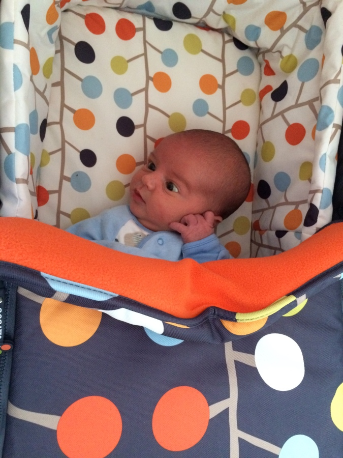 Baby Jenson in his pram