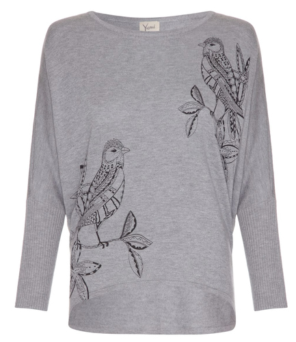 bird print sweater from yumi