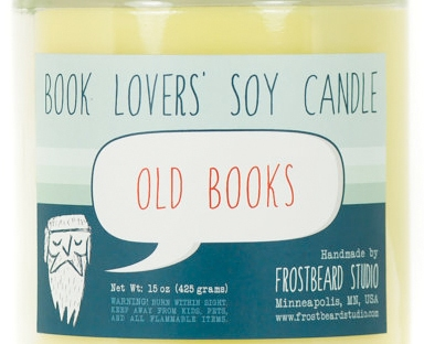 old book smell candle from etsy