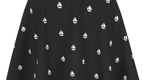 boat print skater skirt from yumi