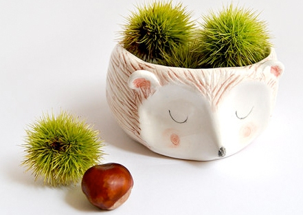 hedgehog planter from etsy