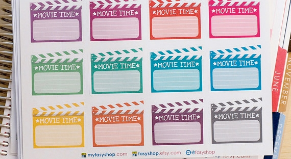 movie time stickers from etsy