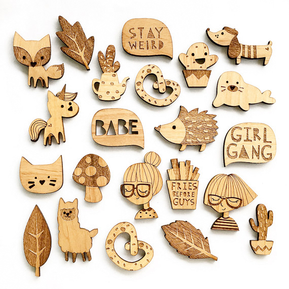 set of wooden brooches by hello miss may from etsy