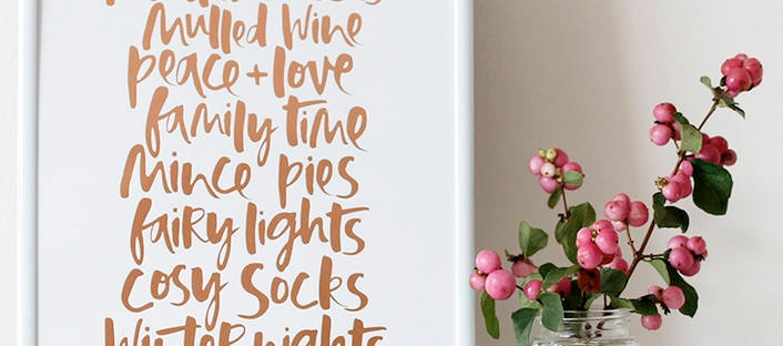 too wordy christmas print from not on the high street