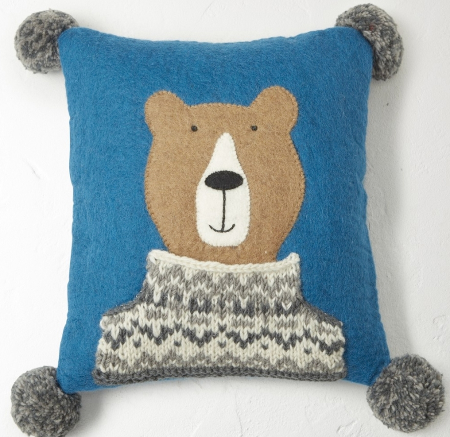 bear cushion from white stuff