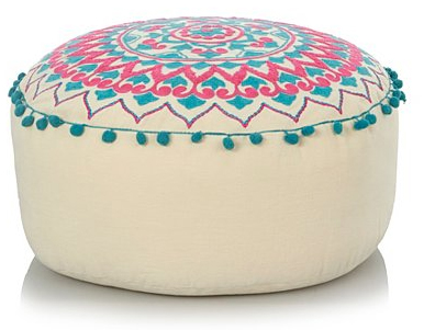 embroidered pom pom floor seat from asda