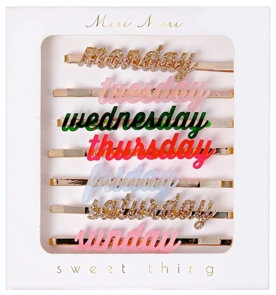 days of the week hair clips from howkapow