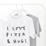 pizza and hugs tshirt from etsy