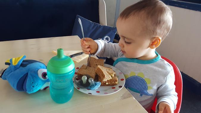 jenson eating lunch