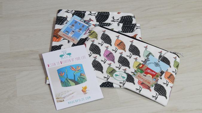 made by ilze guinea fowl bag and tea towel