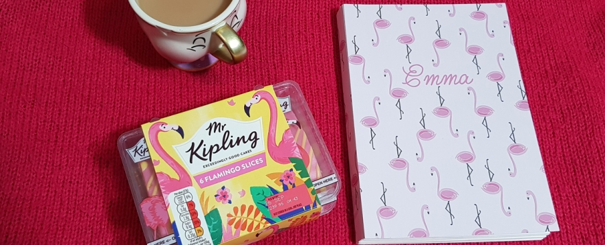 Flamingo cake and notebook