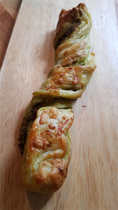 Cheese and pesto twists