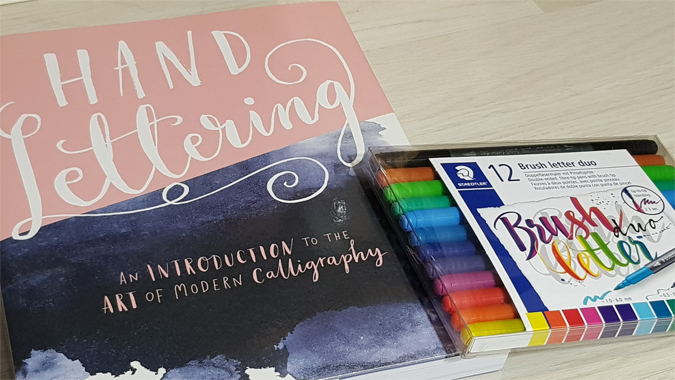 Hand Lettering book and brush pens