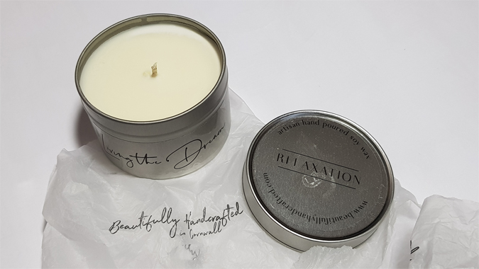 Relaxation candle from Beautifully Handmade in Cornwall