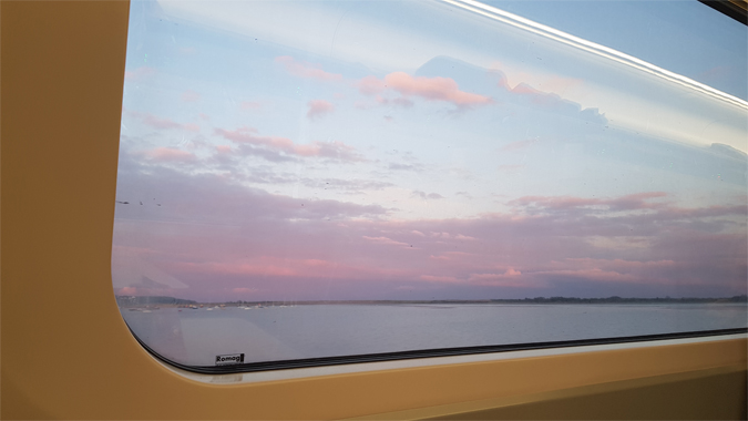 Sunset train journey