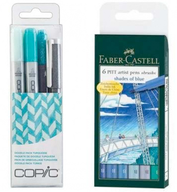 Blue lettering pens from Craft Stash
