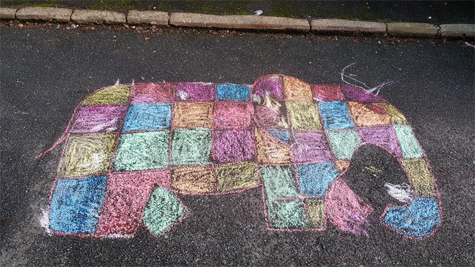 Elmer chalk drawing