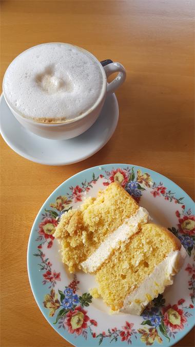 Coffee and cake from Trengwaiten Gardens
