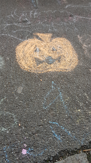 Halloween chalk drawings